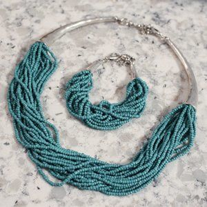 Lucky Brand Silver Turquoise Necklace & Bracelet